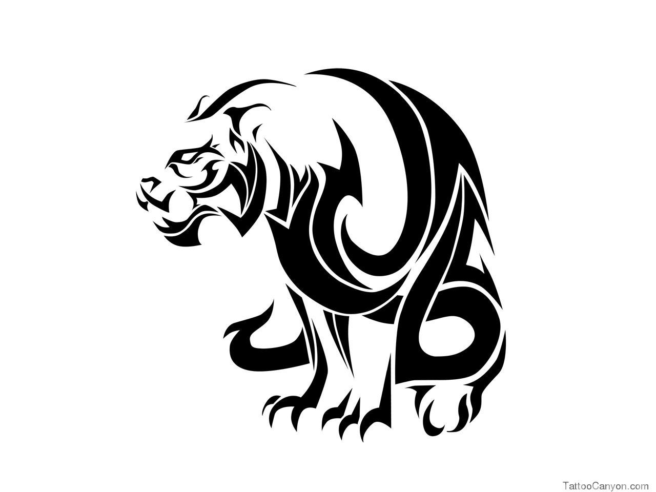 Great tribal sitting tiger tattoo design