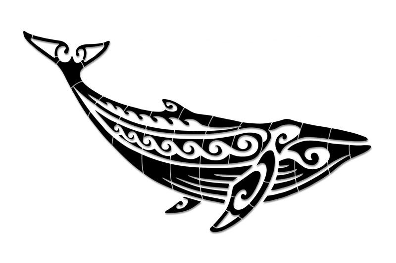 Great tribal whale tattoo design