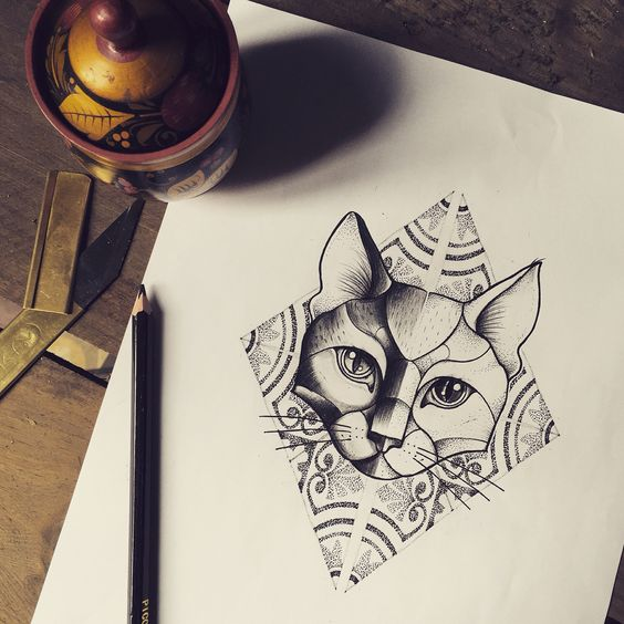 Great uncolored cat face on dotwork geometric patterned bakground tattoo design