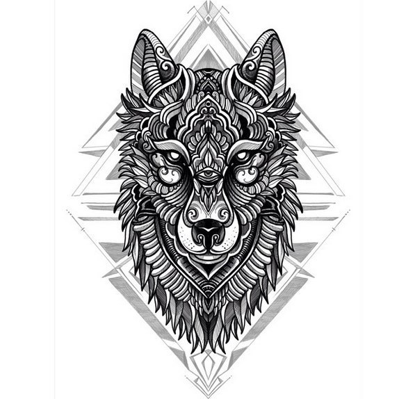 Great Uncolored Wolf Head With The Third Eye On Geometric Pattern