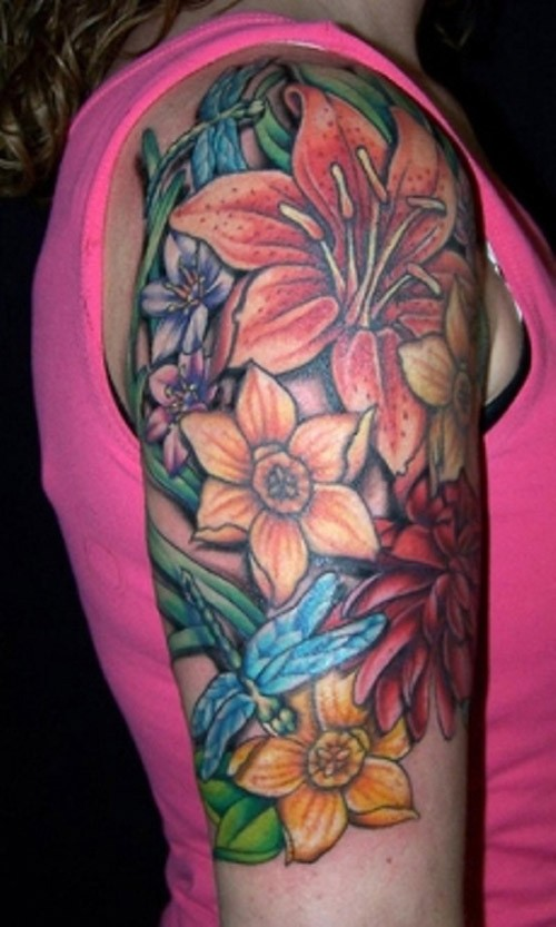 Great vivid-colored tropical flowers tattoo for women on upper arm