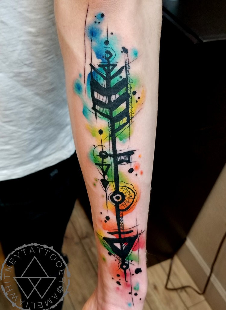 Great watercolor tattoo on forearm
