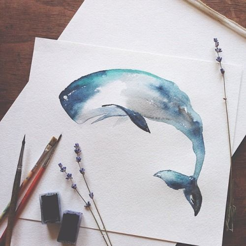 Great watercolor whale tattoo design