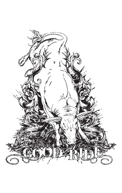 Great white bull and printed lettering tattoo design