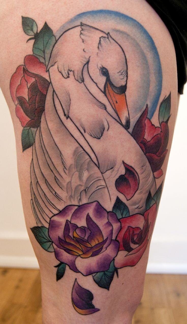 Great white swan and colorful flowers tattoo on thigh