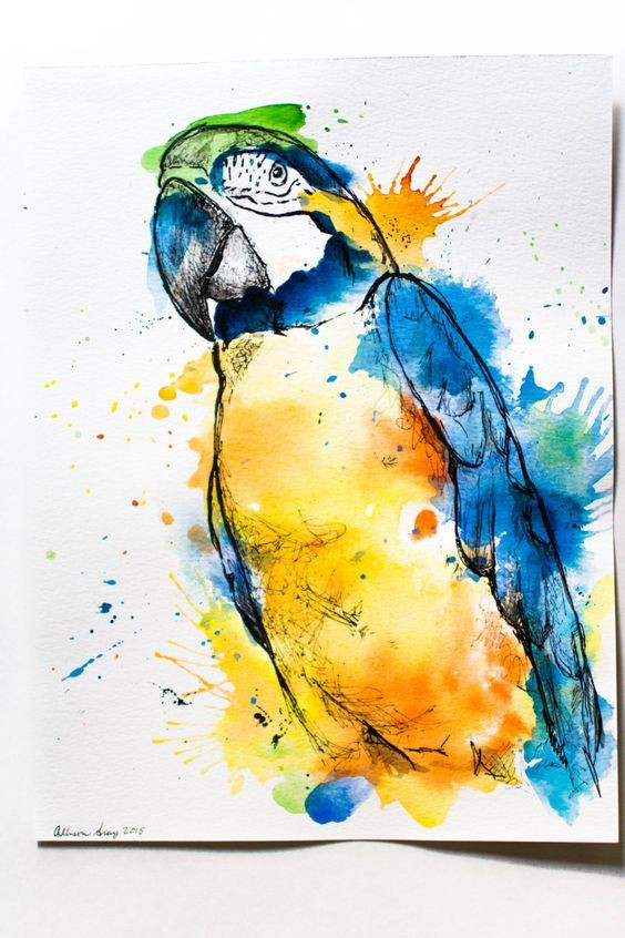 Great yellow-and-blue watercolor arra parrot tattoo design