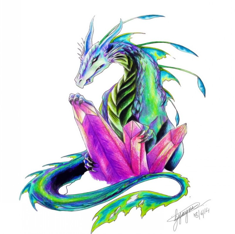Green-and-blue dragon protecting his purple crystals tattoo design
