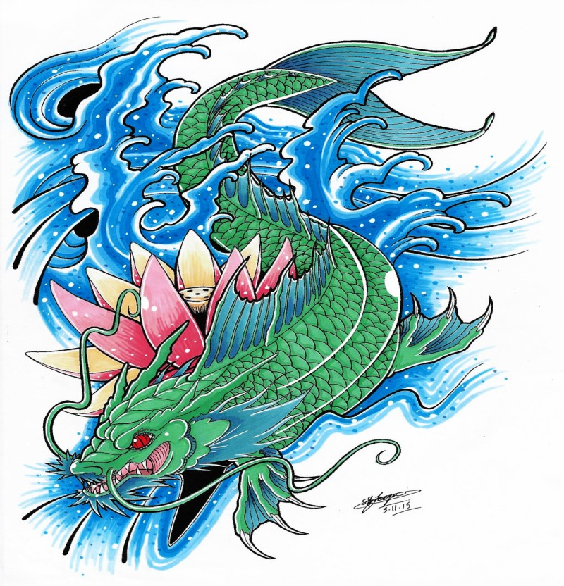 Green-and-blue koi fish dragon in water with a lotus tattoo design by Shannon x Naruto