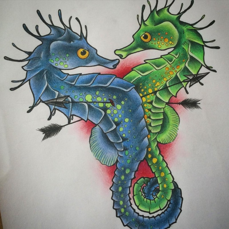Green-and-blue new school seahorse lovers pierced with arrows tattoo design