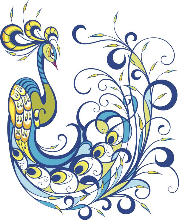 Green-and-blue peacock with swirly tail tattoo design