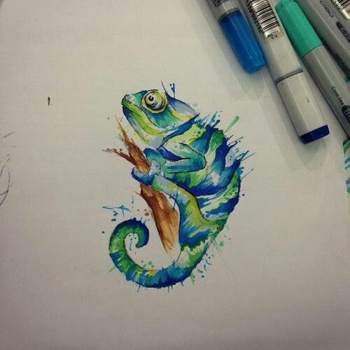 Tattoo Flash Chameleon Lizard: Green-and-blue Waterolor Chameleon In Splashes Tattoo