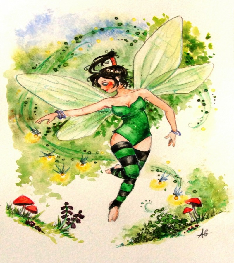 Green-color fairy in striped stockings flying over mushrooms tattoo design