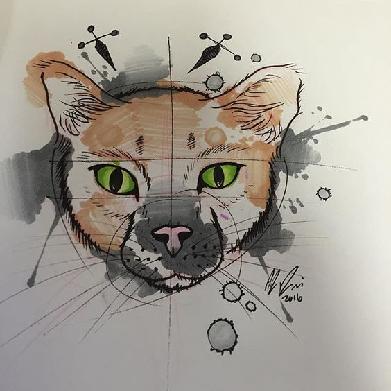 Green-eyed cat head on black watercolor splashes tattoo design