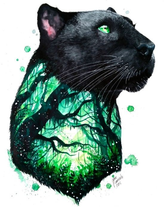 Green-eyed panther with green-shining forest print tattoo design