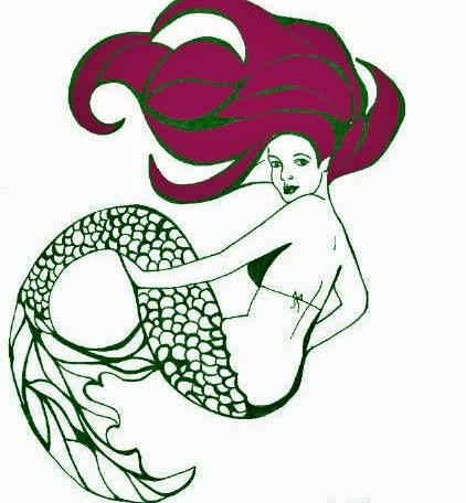 Green-ink burgundy-haired mermaid tattoo design