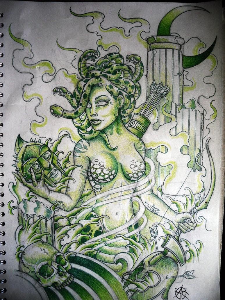 Green-ink cartoon roman medusa gorgona warrior tattoo design by Frost Tattoo