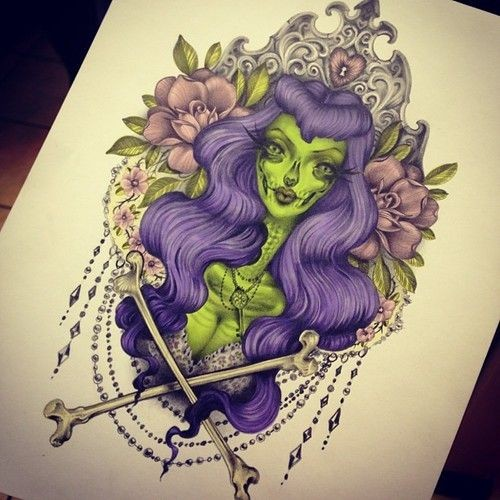 Green-skin purple-haired zombie girl portrait in decorated frame tattoo design