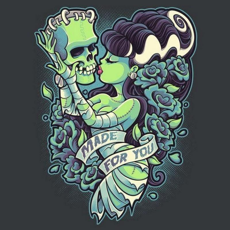 green skin zombie girl kissing a frankenstein head tattoo design. Black Bedroom Furniture Sets. Home Design Ideas