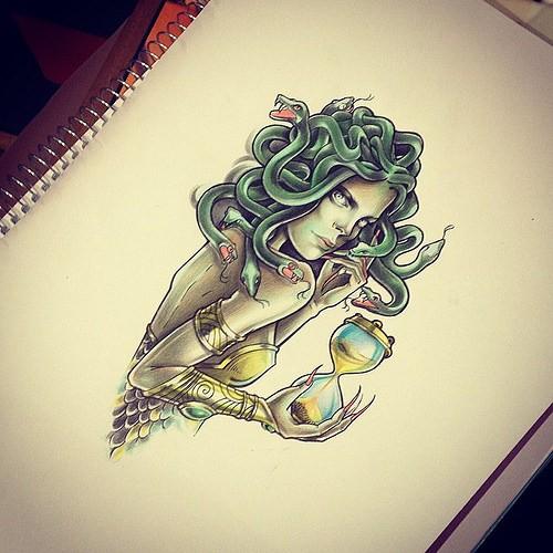 Green-snake medusa gorgona keeping a hourglass in a hand tattoo design
