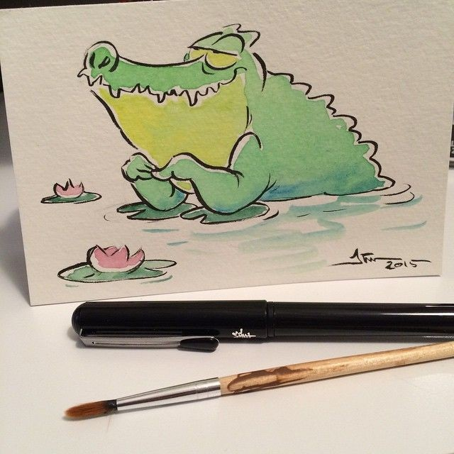 Green cartoon dreaming reptile and rosy pound lilies tattoo design