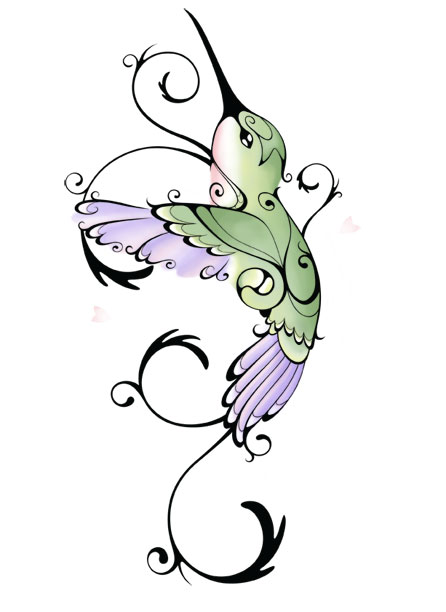 Green curled hummingbird with purple tail and wings tattoo design