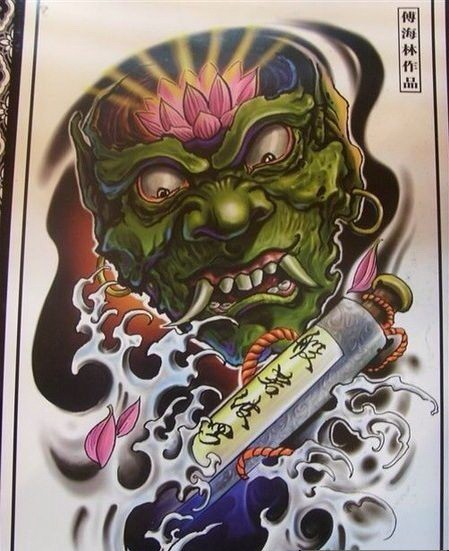 Green demon with shining lotus on the forehead and long bulb in water tattoo design