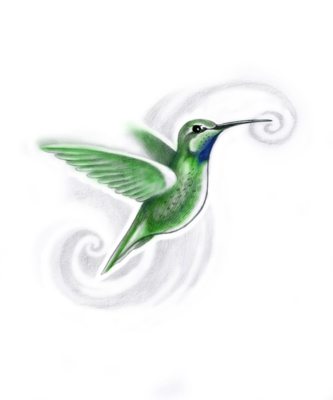 Green flying hummingbird on swirly background tattoo design