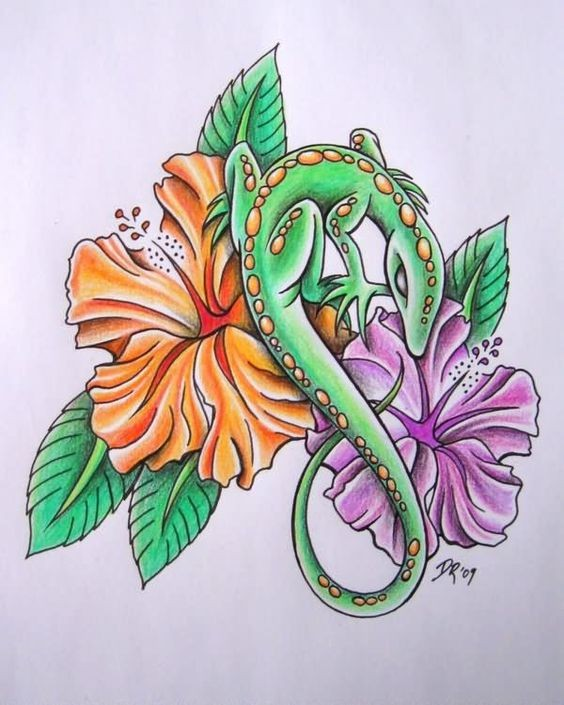 Green lizard with spotted back and colorful hibiscus flowers tattoo design