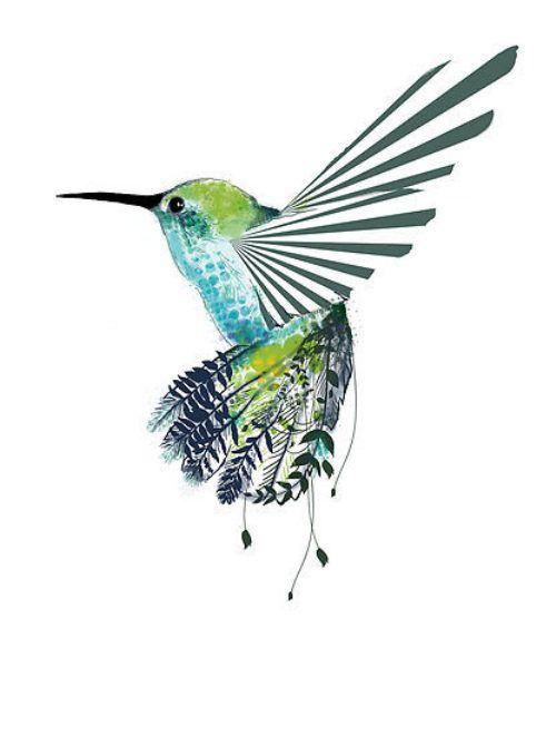 Green ray-winged hummingbird with floral tail tattoo design