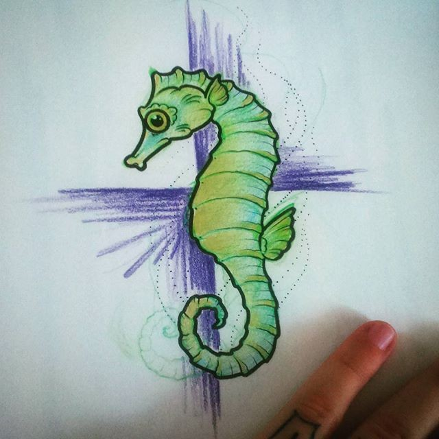 Green seahorse on violet pencilwork cross background tattoo design