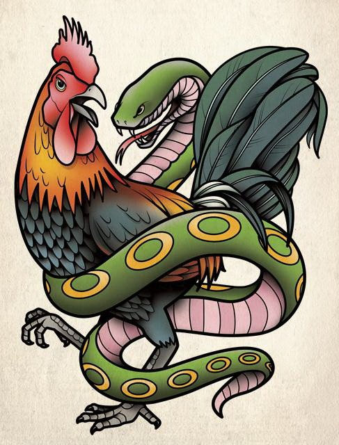 Green snake entwining a rooster tattoo design