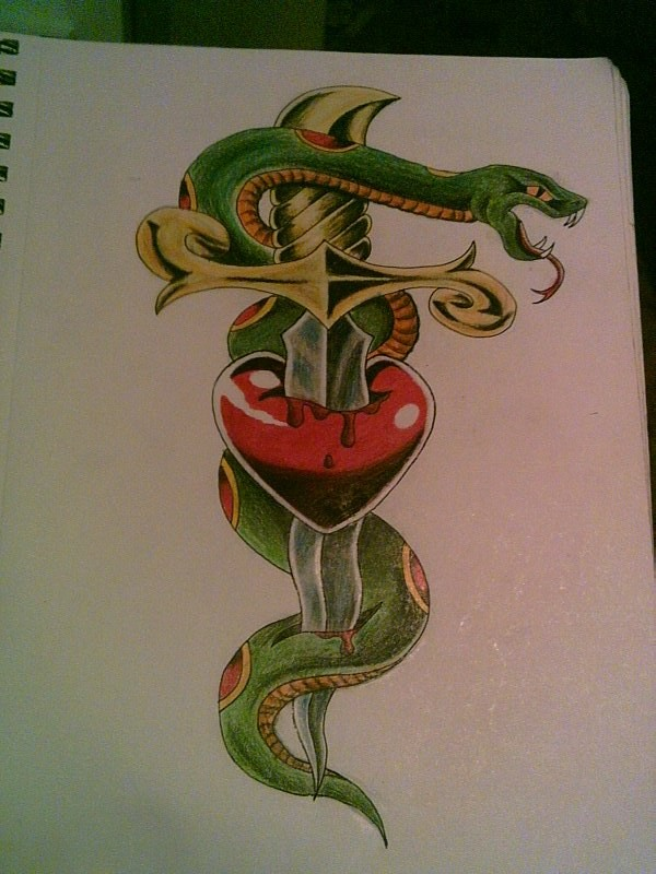 Green snake with red heart pierced with dagger tattoo design