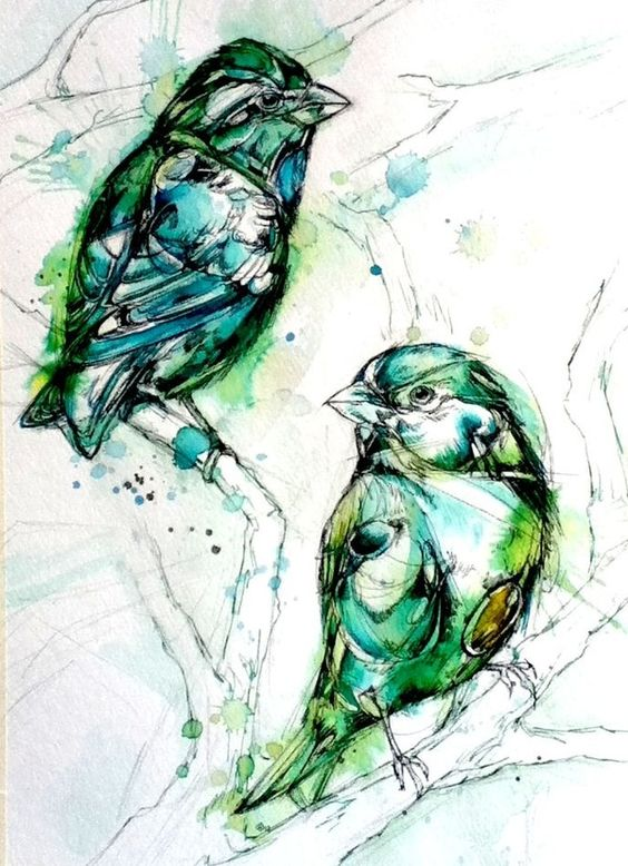 Green watercolor bird couple resting on branches tattoo design