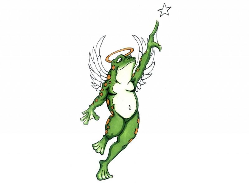 Green watercolor dancing angel frog with golden nimbus tattoo design