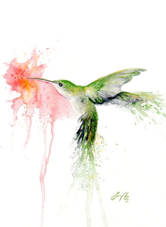 Green watercolor hummingbird smelling a pink hibiscus flower tattoo design