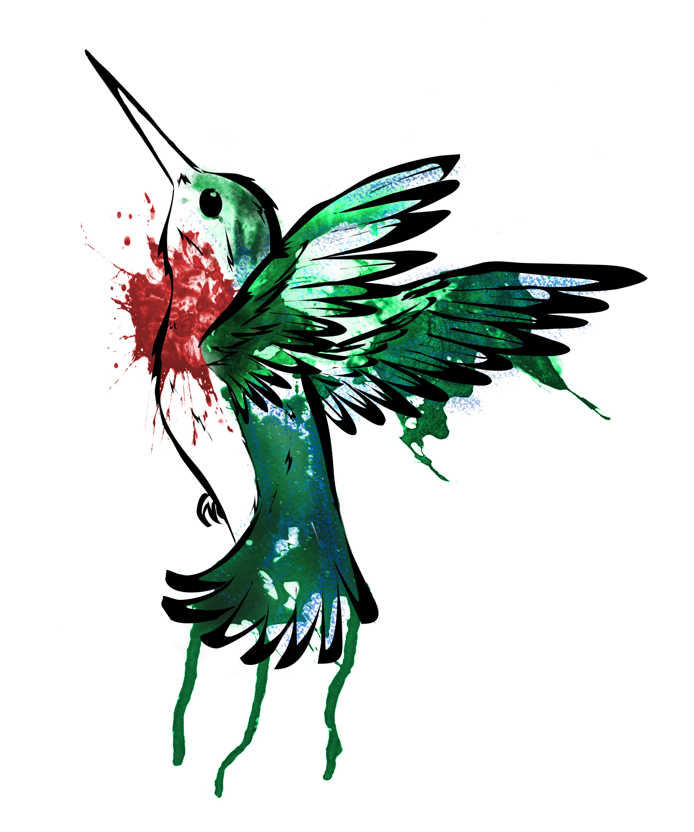 Green watercolor hummingbird with red heart spot tattoo design