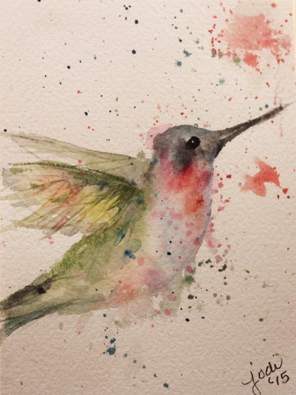 Green watercolor hummingbird with red spots tattoo design