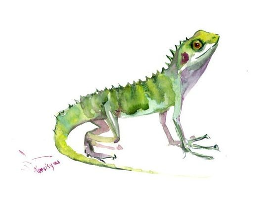 Green watercolor lizard with purple belly tattoo design