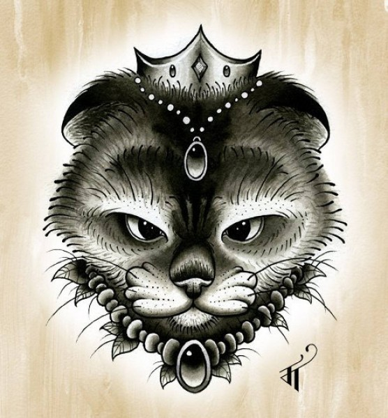 Grey-and-black domestic animal head with crown and bead decorations tattoo design