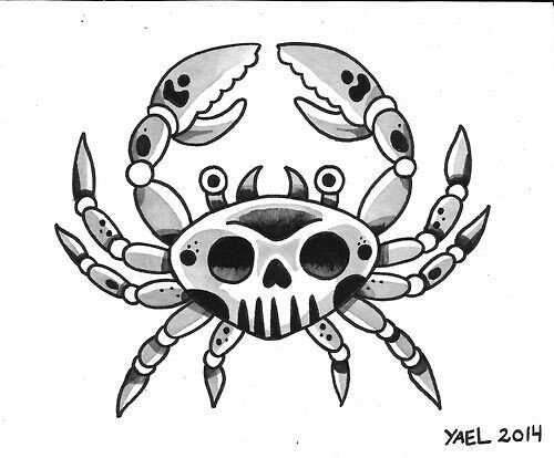 Grey-and-black old school style crab with skull print tattoo design