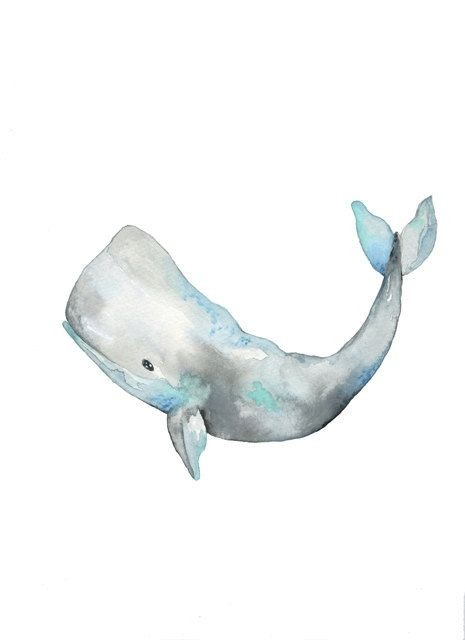 Grey-and-blue watercolor whale tattoo design