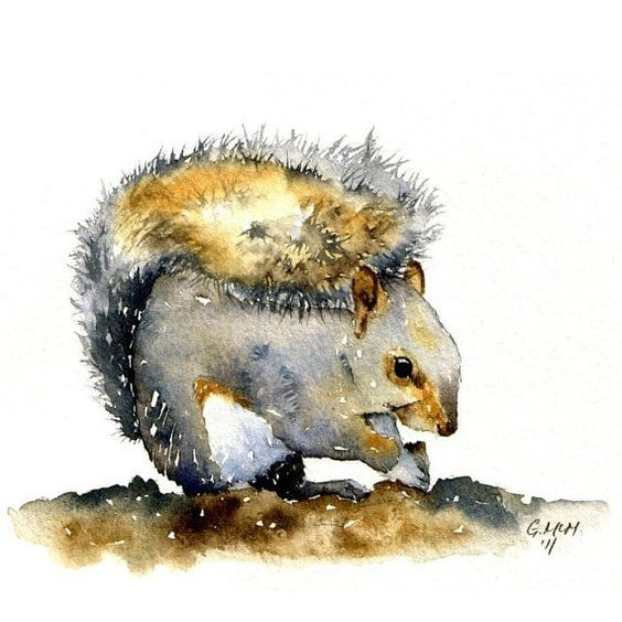 Grey-and-brown watercolor squirrel sitting on the ground tattoo design