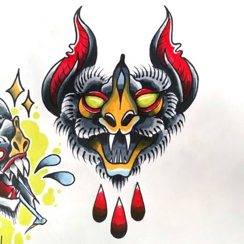 Grey-and-red bat head with falling blood tattoo design