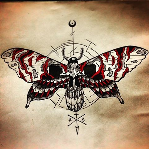 Grey-and-red dotwork moth with skull ornament tattoo design