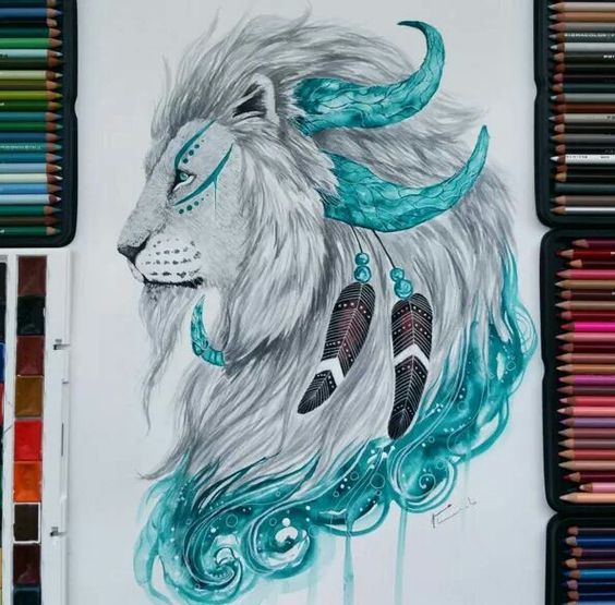 Grey-and-turquoise horned lion with feathers tattoo design