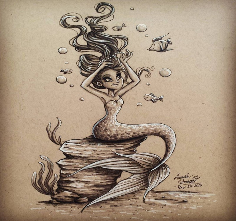 Grey-and-white dressed mermaid making a hair-do on rock tattoo design