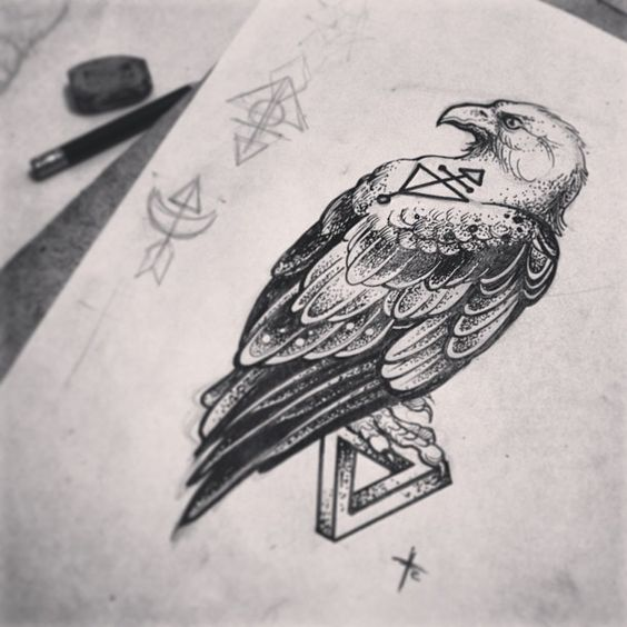 Grey-color eagle sitting on small geometric figure tattoo design