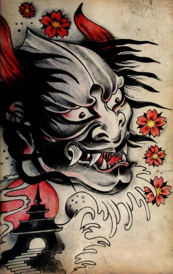 Grey-faced devil with red horns and cherry blossom with tiny castle tattoo design