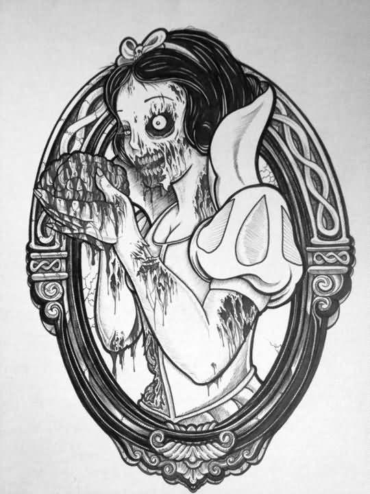 Grey-ink Snowhite zombie girl keeping a brain in mirror frame tattoo design