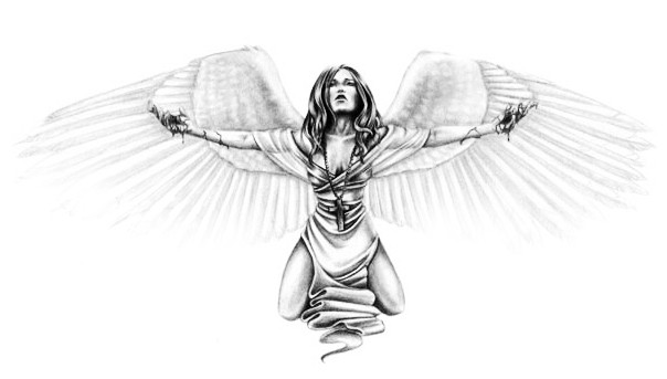 Grey-ink angel girl with bloody hands tattoo design